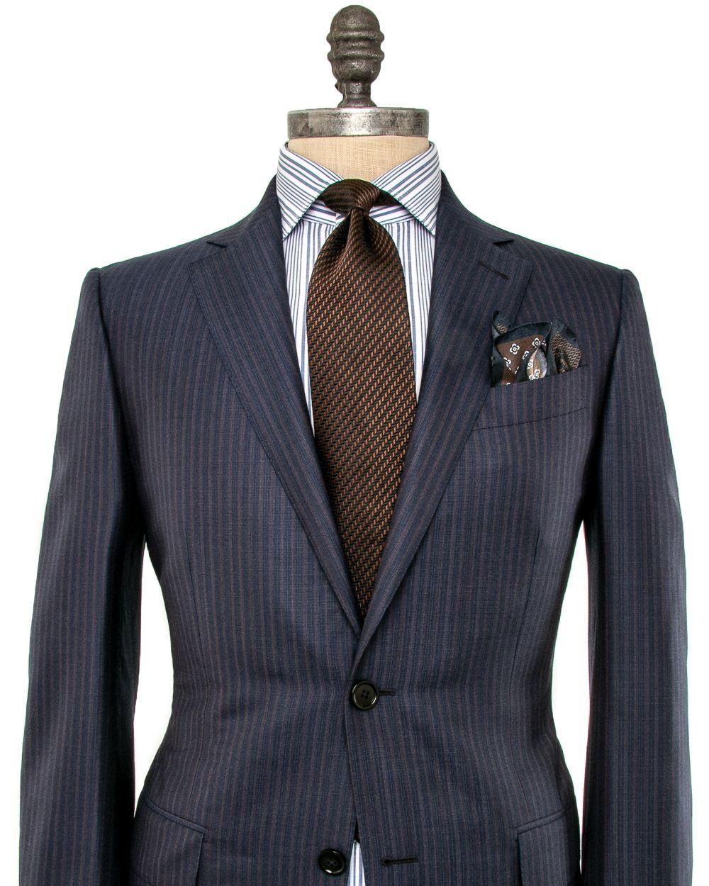 49d9ecfe860 Ermenegildo Zegna Navy and Brown Stripe Suit
