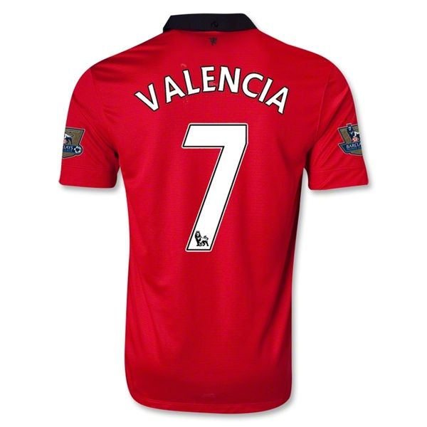 4fd9afdc49b 13-14 Manchester United  7 VALENCIA Home Jersey Shirt