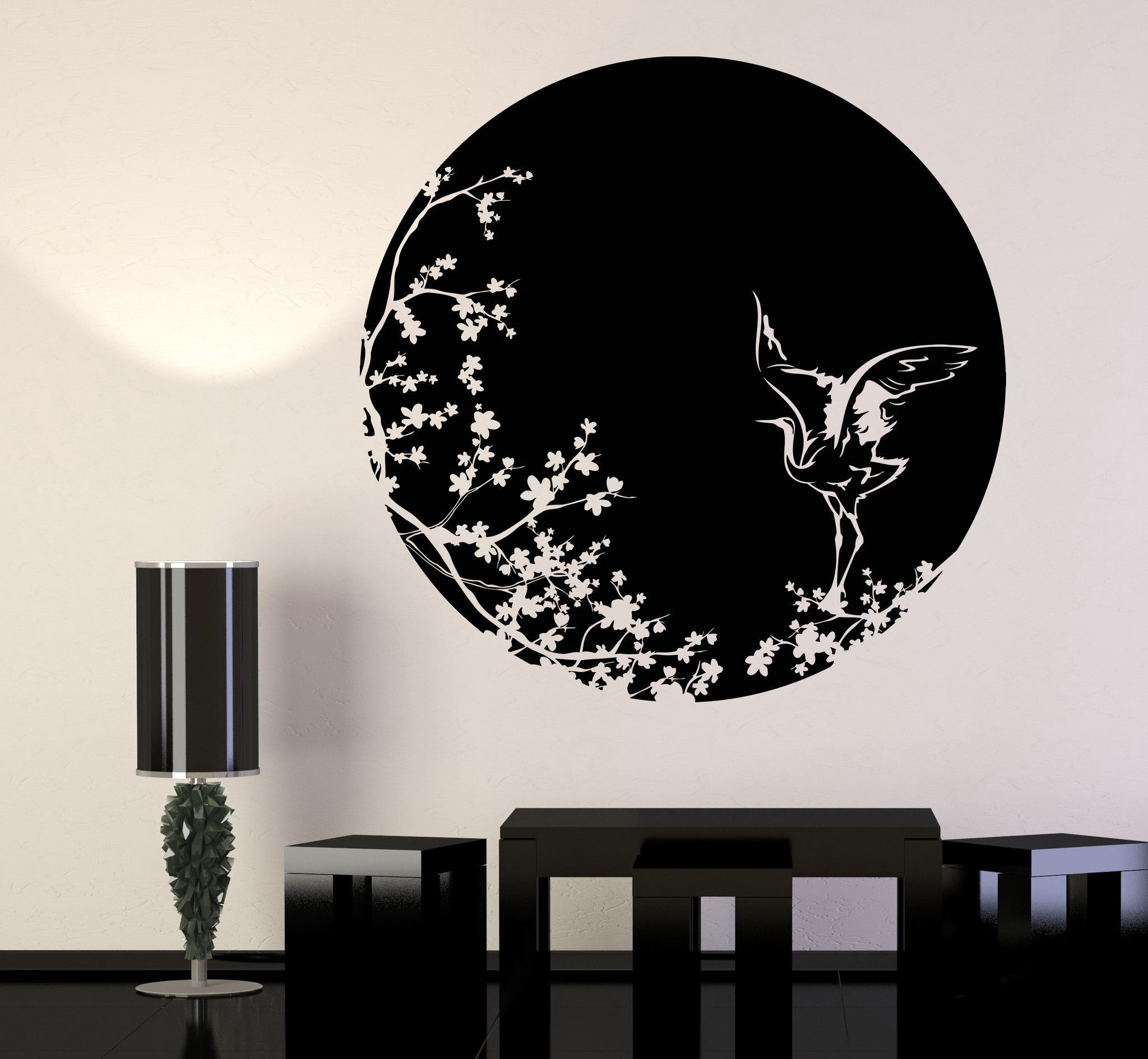 Vinyl Wall Decal Sakura Tree Branch Heron Art Asian Style Bird - Vinyl wall decals asian