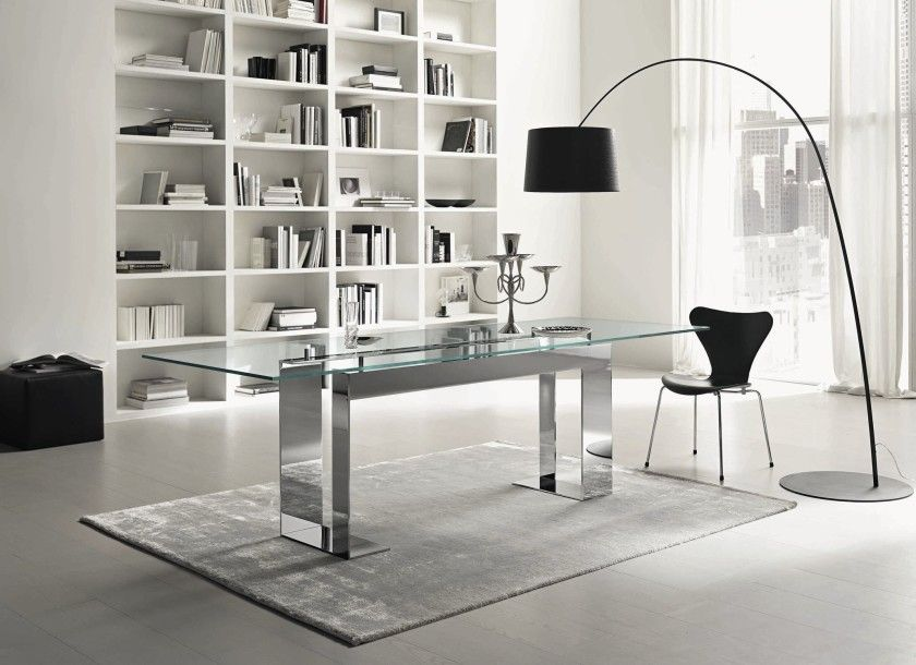 72c2a37a440c Contemporary Style Glass Dining Table Feature Rectangle Shape Glass Table  Top And Elegant Chromed Table Holder