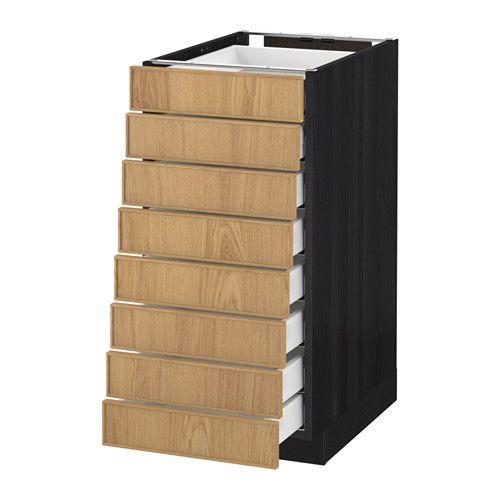 METOD / MAXIMERA Mobile 8frontali/8cassetti bassi - effetto legno nero, Ekestad rovere, 40x60 cm - IKEA euro 244