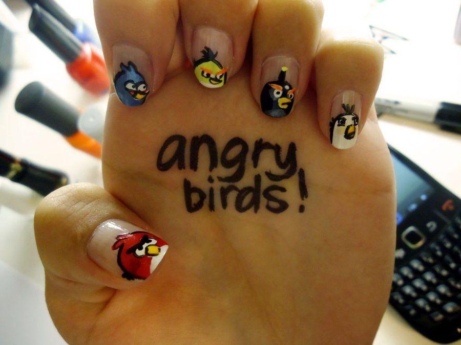 Angry Birds Nail Art by ~damselindisdress on DeviantArt | Angry Bird ...