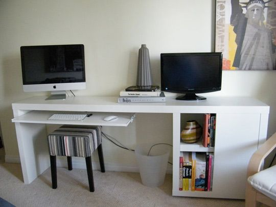 Ikea hack narrowdesk...Yes, this is the one like like best so far.  The reason is the drawer slider for the keyboard  using hardware from Ikea. Uses MALM ocassional Table ($80) + VIKA Annefors table leg with storage ($40)