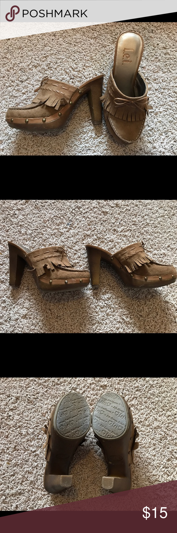 Brown fringe L.e.i. 4.5inch heals L.e.i. 4 1/2 inch heals with fake leather fringe. The have bows on the front and little studs around the bottom. There are a few scrapes on them but nothing too noticeable. L.e.i Shoes Heels