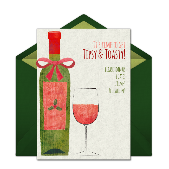 a great free christmas invitation for a holiday wine cheese party or christmas cocktail party we love this for inviting friends to get tipsy toasty