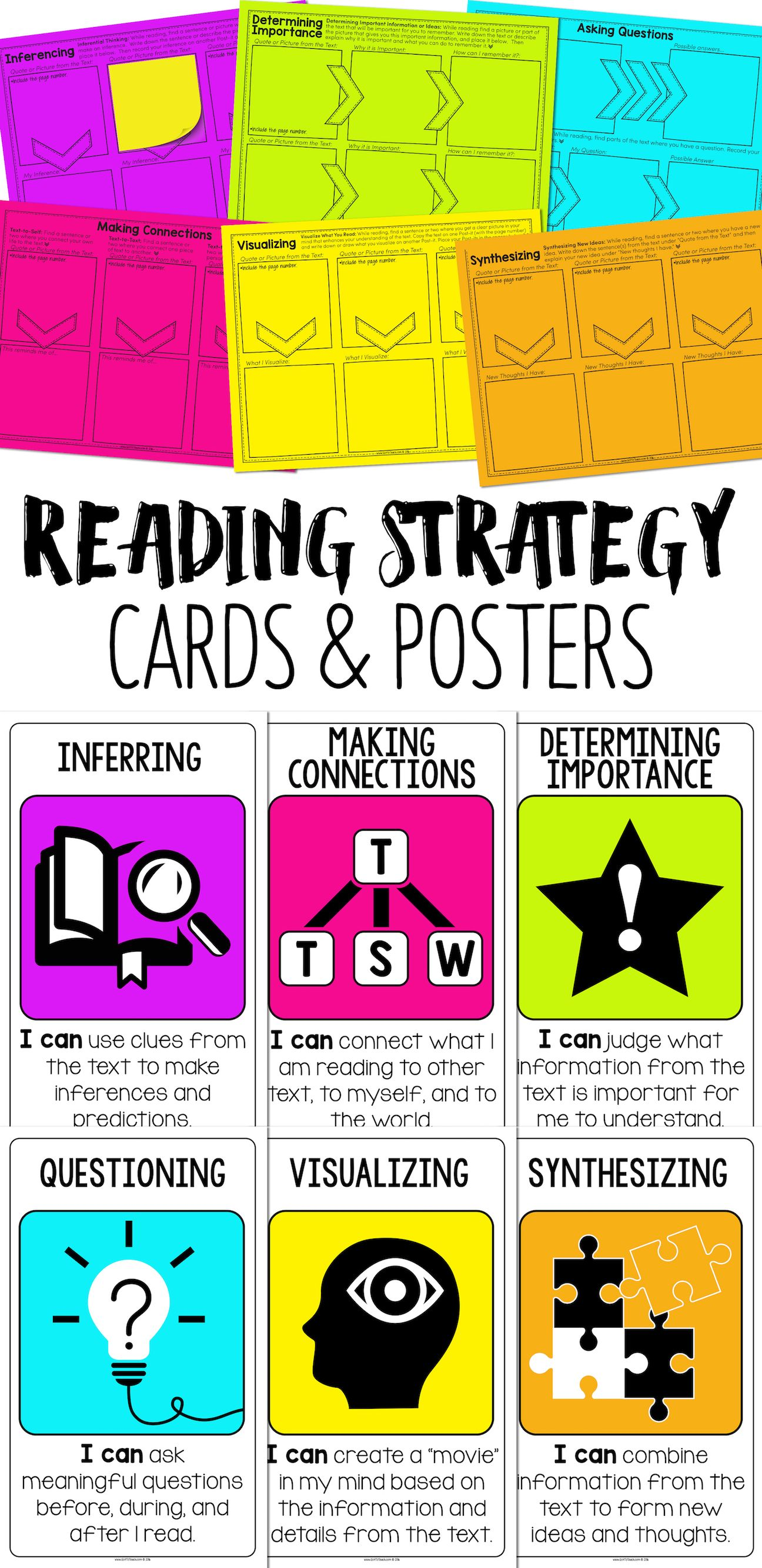 Visualizing, Inferring, Synthesizing, Determining Importance, Making  Connections, Questioning. A strategy card for each! Based on my all-time  favorite ...