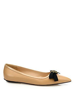 ebf8173786050 Gucci Moody Bee Leather Skimmer Bow Flats - Nude - Size 39.5 (9.5 ...