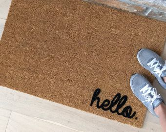 Hello Doormat, Hello Door Mat, Front Door Decor, Custom Doormat, Hello Mat,  Welcome Mat, Cute Door Mat