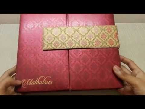 Boxed wedding invitation card in red with motif design lotus card boxed wedding invitation card in red with motif design lotus card studio youtube stopboris Choice Image
