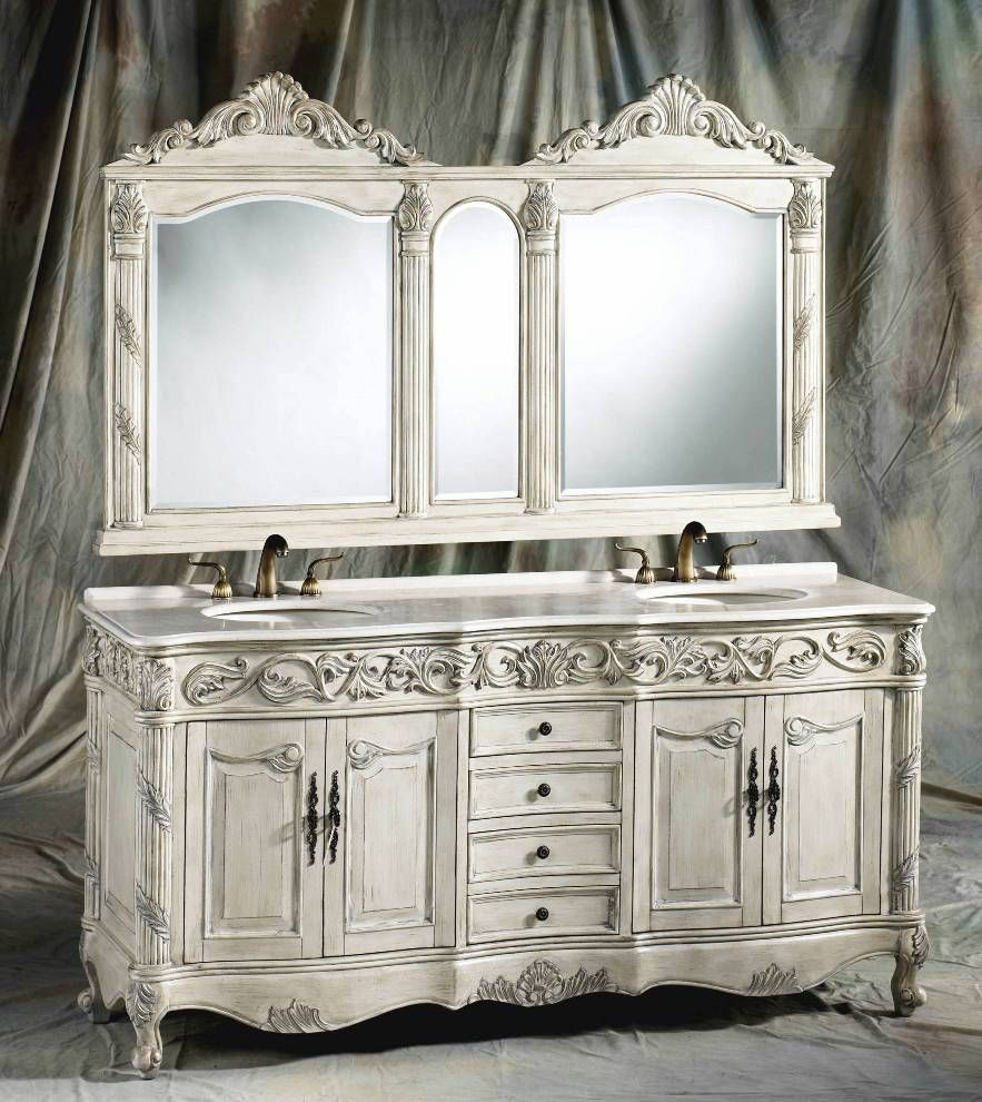 72 Inch Ferrari Vanity Double Sink Vanity Antique White Vanity