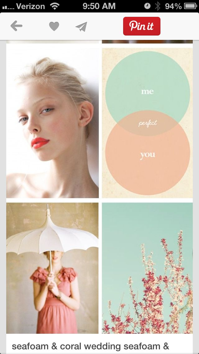 Loving coral and seafoam for wedding colors!
