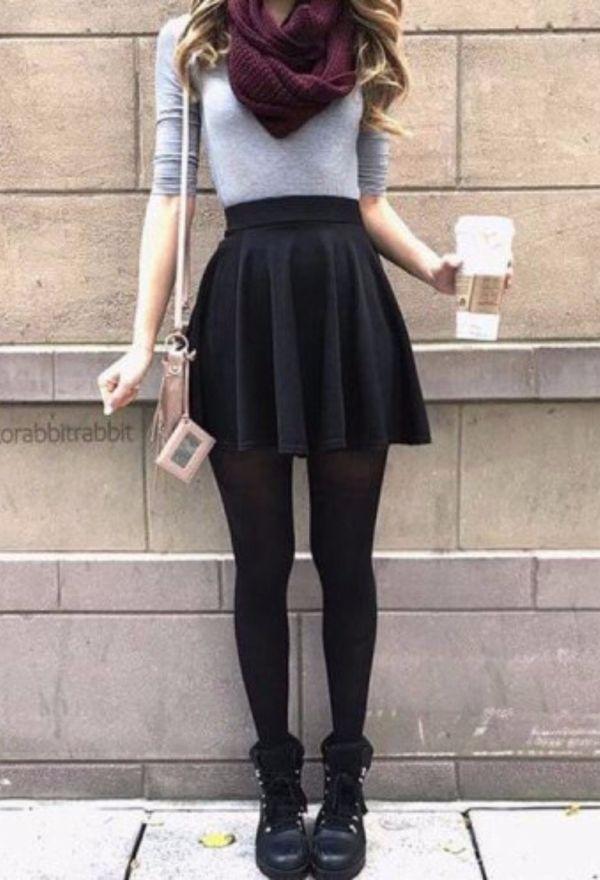 bb8fa5b84d33 Mam, all of it is amazing...Black skirt, tights, burgandy scarf ...