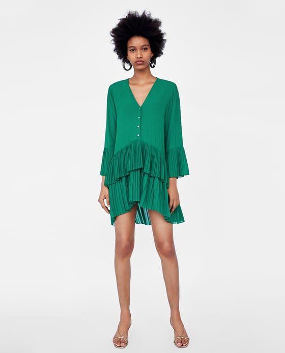 Vestido verde zara primavera 2018