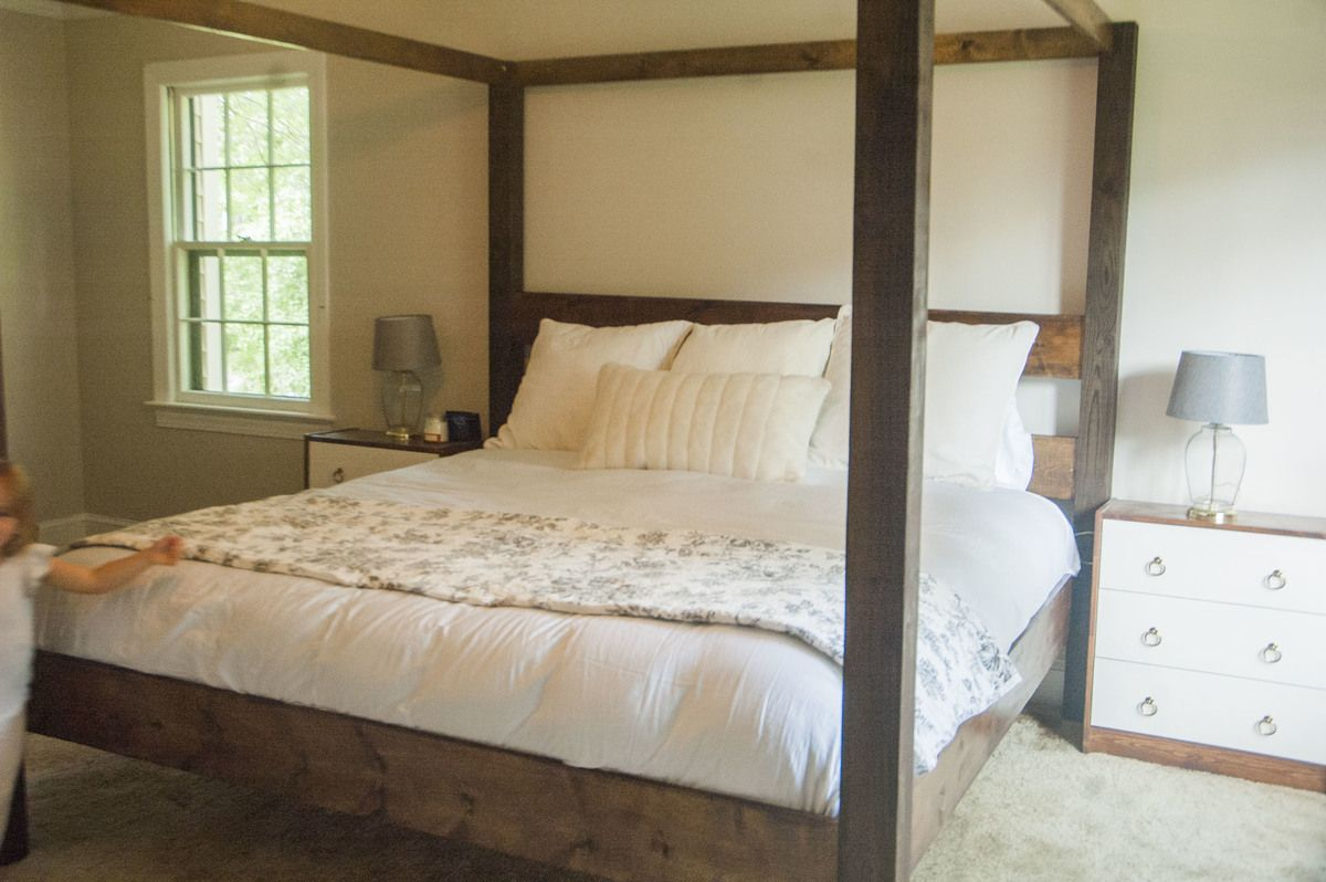 Minimalist Rustic Modern King Canopy Bed (With images