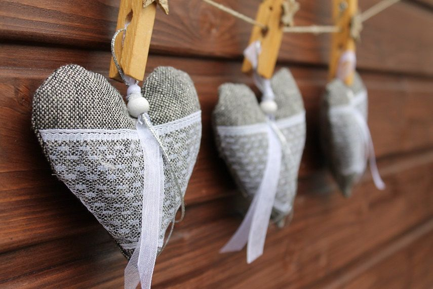 Wedding decorationChristmas decorationGrey silver  fabric heart Home decoartion Christmas tree decoration