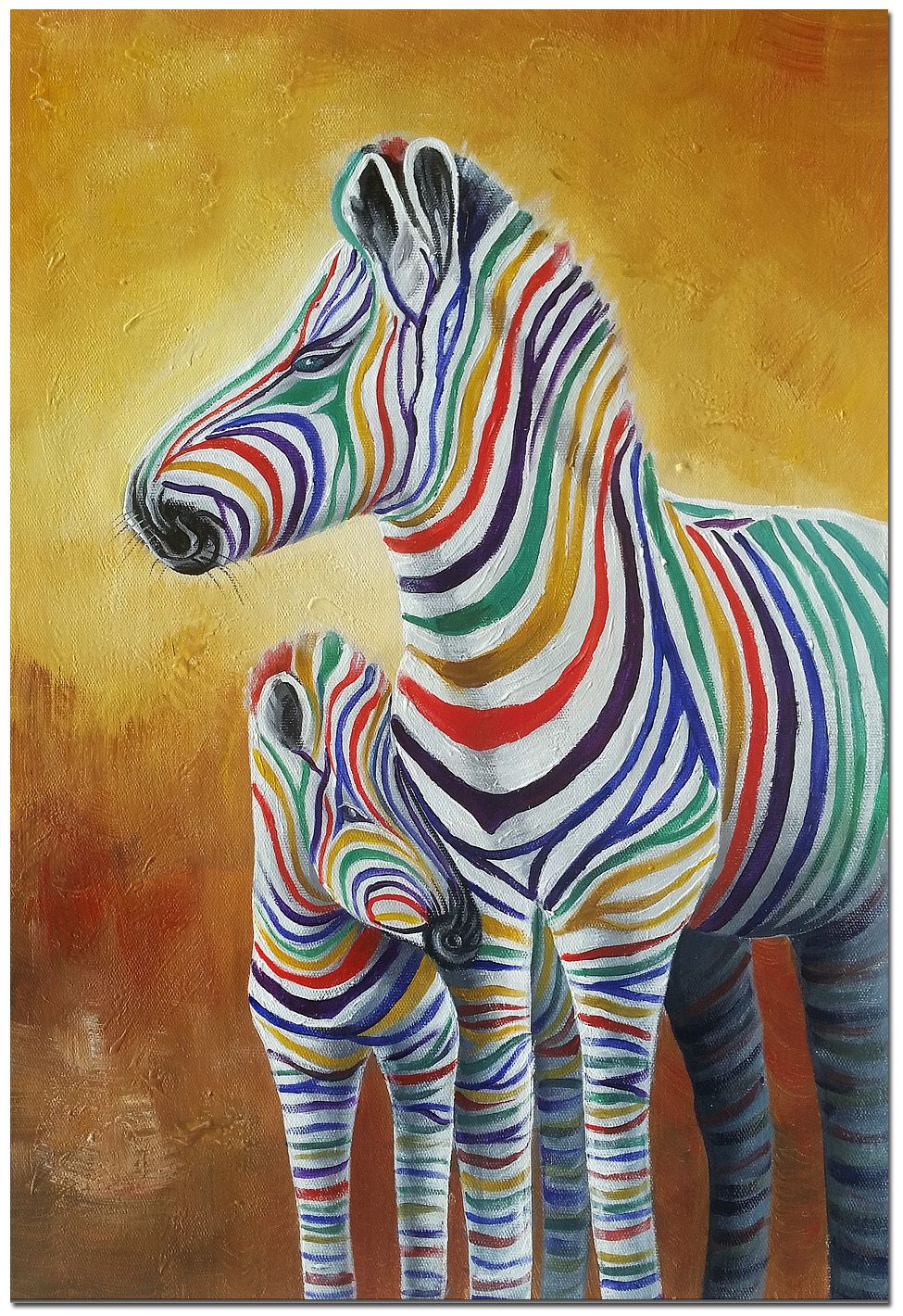 Zebra mother and child signed hand painted colorful wildlife oil mother and child signed hand painted colorful zebra painting on canvas certificate included altavistaventures Images