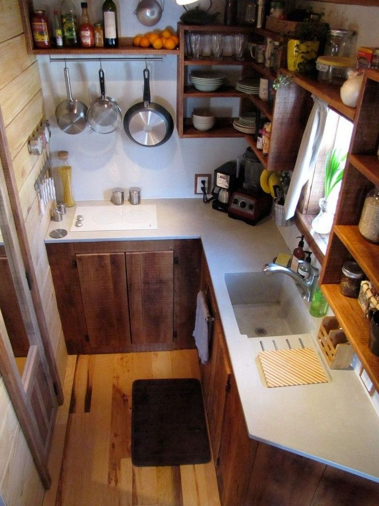 52 Awesome Tiny House Small Kitchen Ideas Page 48 Of 52 Tiny House Kitchen Kitchen Layout Small Space Kitchen