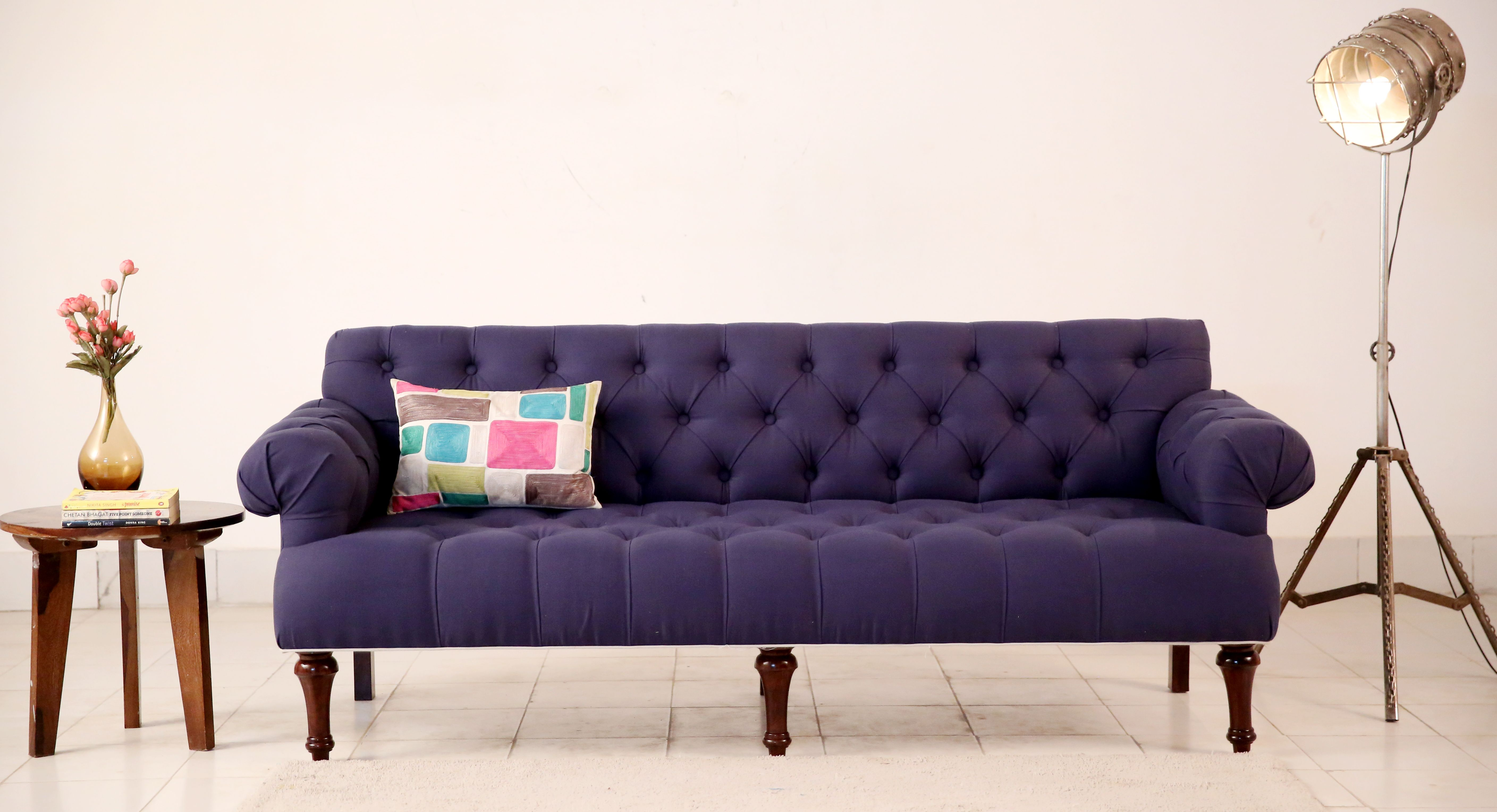 Buy Allison 3 Seater Sofa Fabric Indigo Ink Online In India Wooden Street Fabric Sofa 3 Seater Sofa Wooden Street
