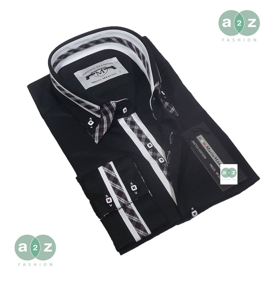 11653c722ef7 Brand New Men's Formal, Smart, Black with White Double Collar Casual  Italian Design Slim Fit Shirt, with an Amazing Striped, White, With Red,  Black, ...