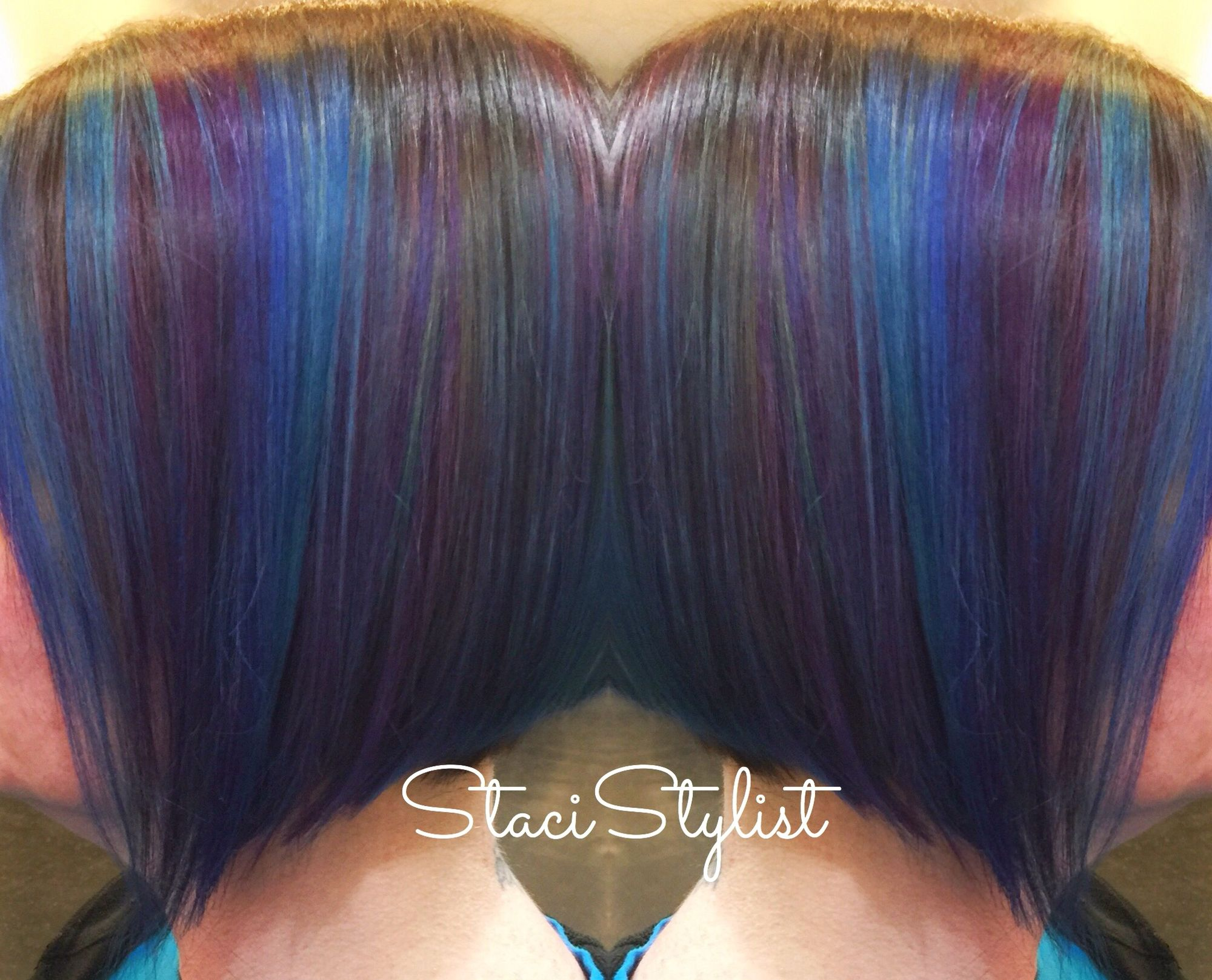 Gorgeous Purple And Blue Highlights I Did On Brown Hair
