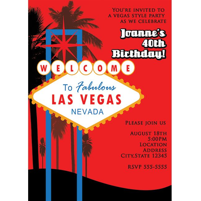 Las Vegas Red Tall Vertical Casino Birthday Party Invitation - Party invitation template: casino theme party invitations template