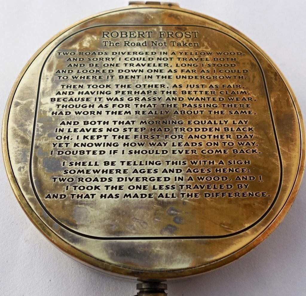 SOLID BRASS NAUTICAL POEM COMPASS VINTAGE MARINE COLLECTIBLE GIFT ITEM