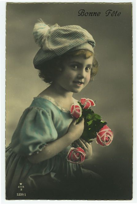 c 1920 Children Child GIRL w/ HAT CAP tinted photo postcard