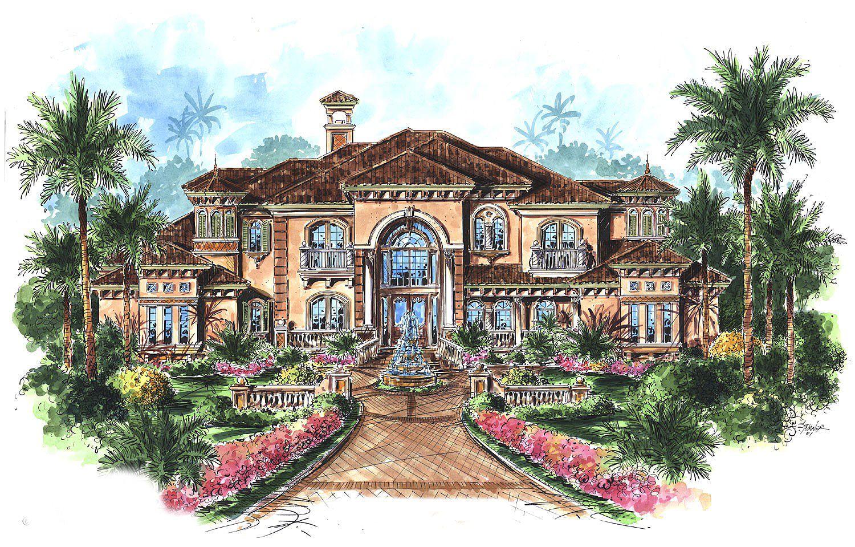 Plan 66070we Stunning Two Story Luxury Home Plan Mediterranean Style House Plans Mediterranean House Plans Luxury House Plans
