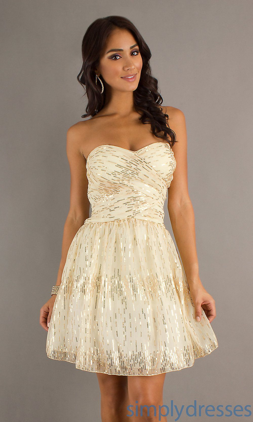 Champagnedresseswithsequines short strapless dress sequin