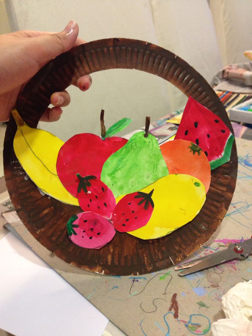 paper basket craft lesson fruits basket paperplate recycle 2608