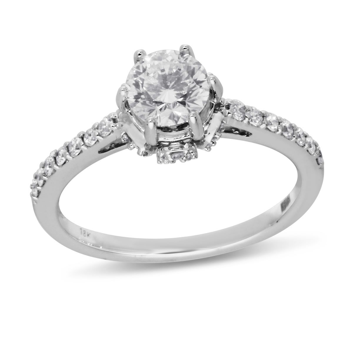 Brilliant Fire Collection 14k White Gold Round SI2 Diamond Ring 1