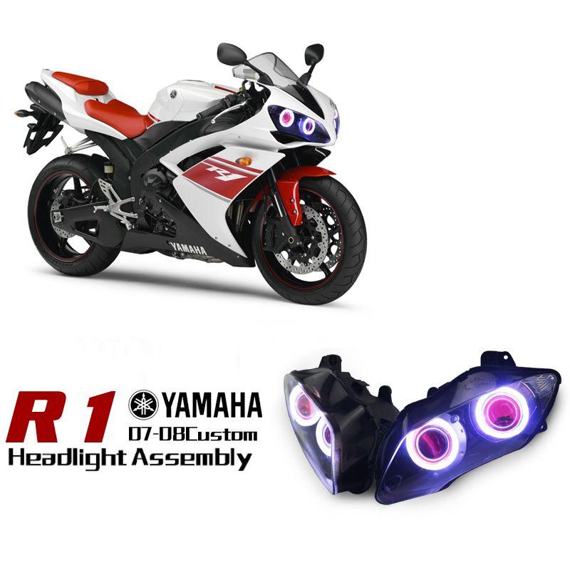yamaha r dual angel eye hid projector custom headlight yamaha yzf r1 dual angel eye hid projector led headlights 2007 2008