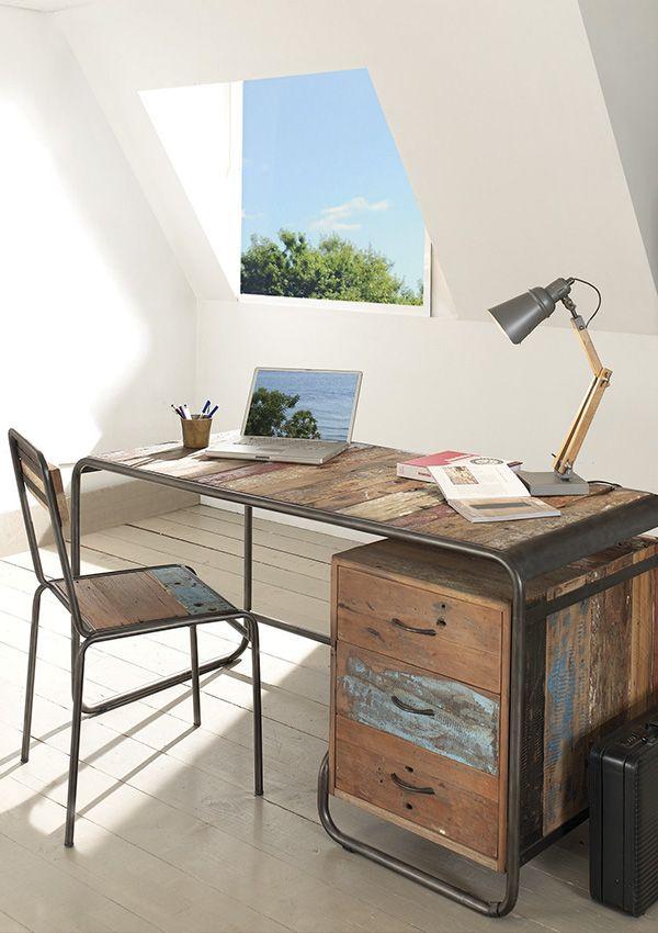 bureau vintage en bois de bateau recycl de chez cocktail scandinave mobilier dcoration dintrieur - Cocktail Scandinave Bureau