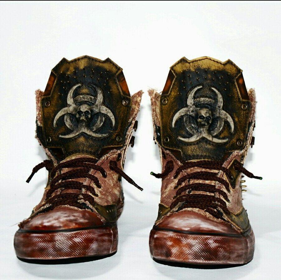 68775d6e74fa6 CUSTOM SNEAKERS - Biohazard - Mad Max - Post apocalyptic - Personal ...