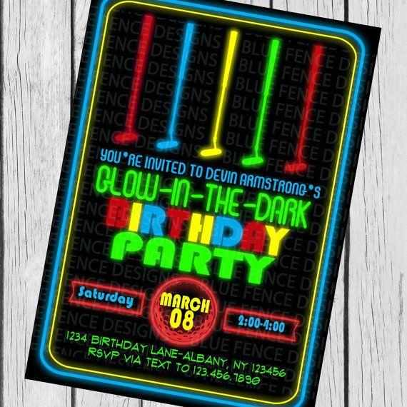 Glow In The Dark Mini Golf Birthday Party Invitation