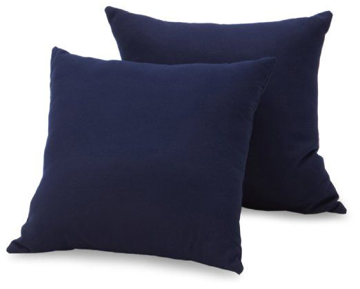 Strathwood Basics Sunbrella 16-by-16-Inch Throw Pillow, Set of 2, Navy