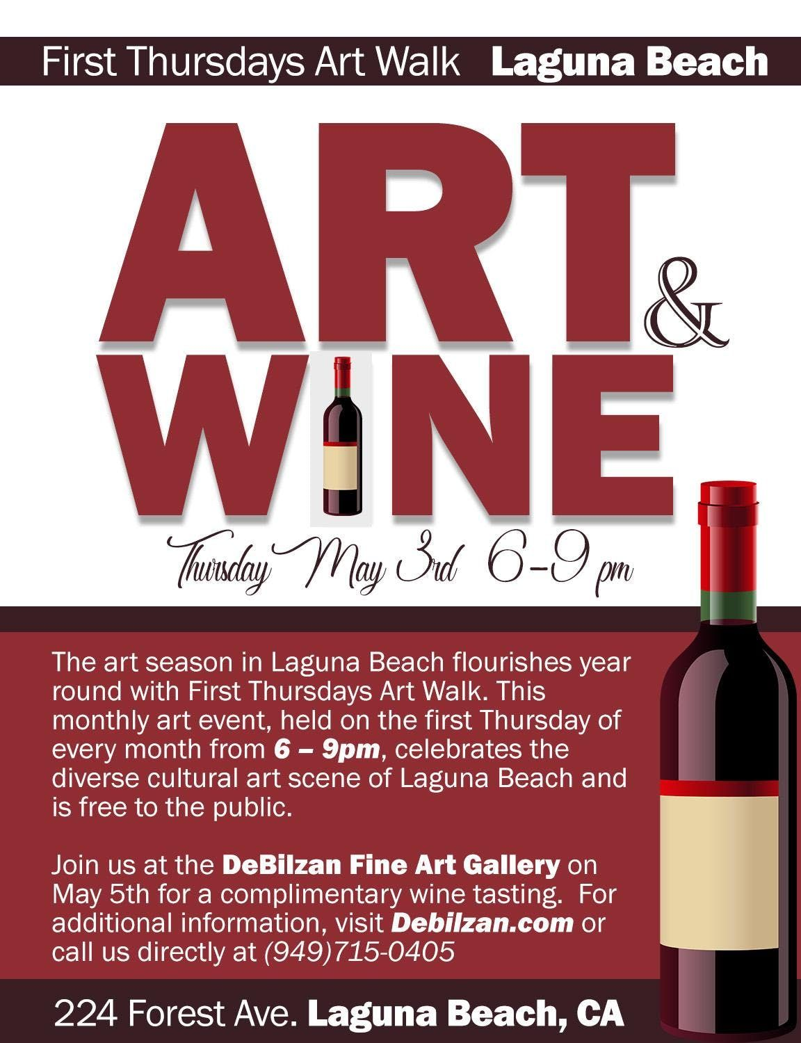 Join Us At The Debilzan Fine Art Gallery In Laguna Beach On Thursday May 3rd From 6 9 Pm For A Complimentary Wine Tasting Partints Must Be 21 Years Or