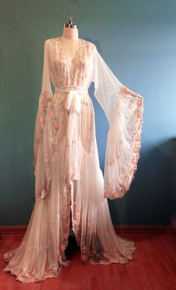 d8fe157137 Image of Romantic Embroidered Lace Sheer Dressing Gown