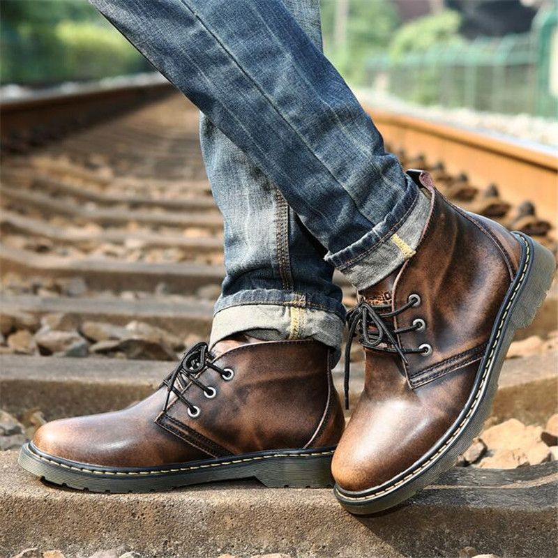 Winter's Martin boots Men Vintage Genuine leather Motorcycle boots ...