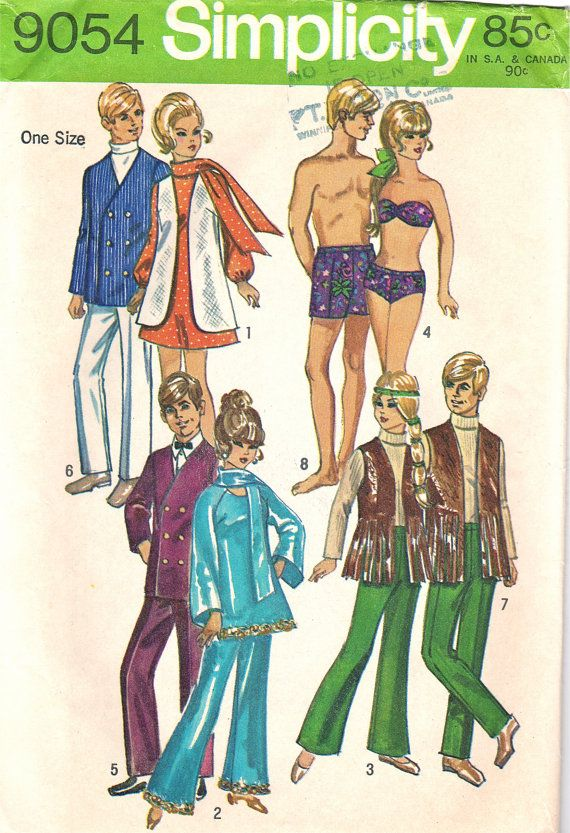 60s Vintage Doll Clothes Pattern /Simplicity 9054 by stumbleupon ...