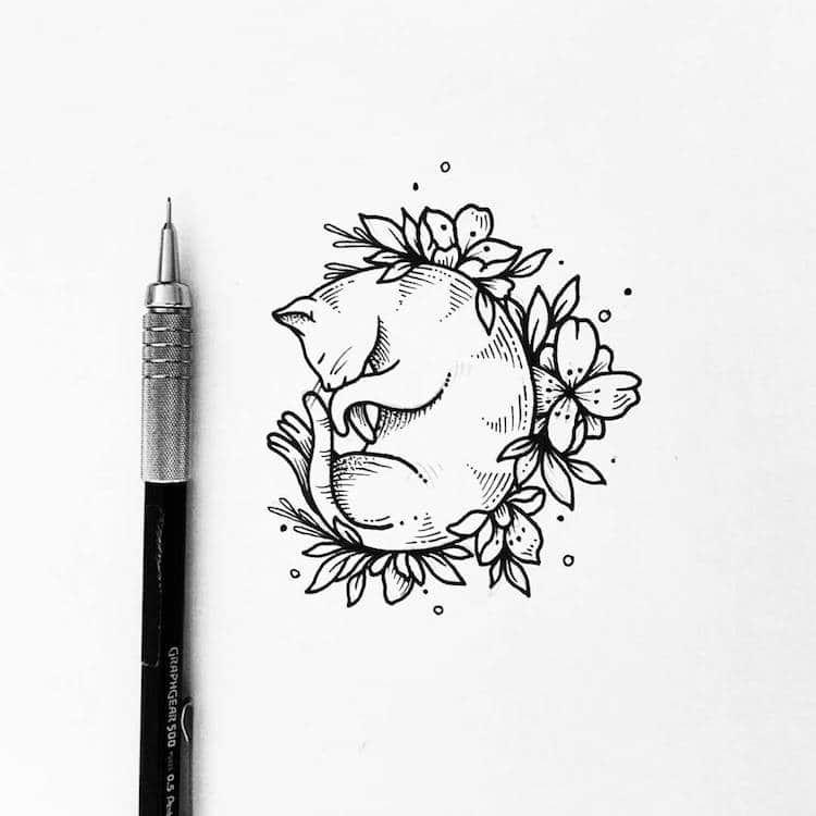 Illustrator Turns Her Beautiful Line Drawings Into Charming Tattoos Cat Tattoo Designs Tattoo Design Drawings Charm Tattoo