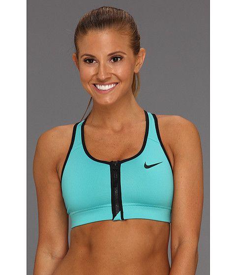78db6282c4 Nike Pro Bra Zip Front Sport Turquoise Black Black - Zappos.com Free  Shipping BOTH Ways