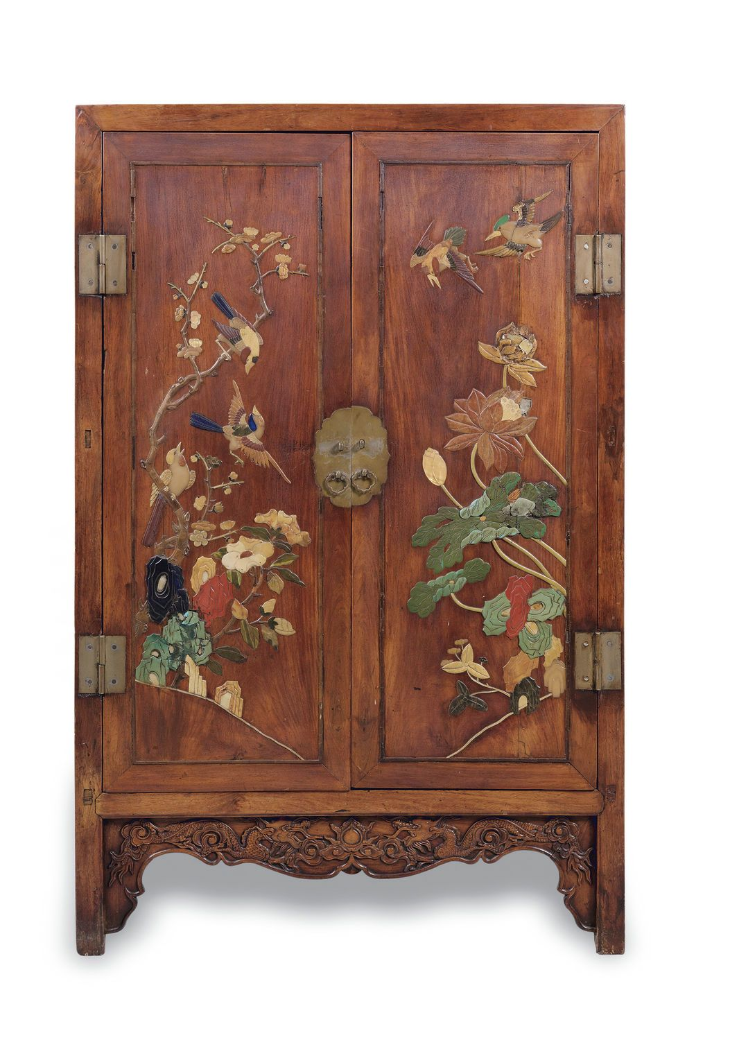 An embellished huanghuali uflowers and birdsu squarecorner cabinet