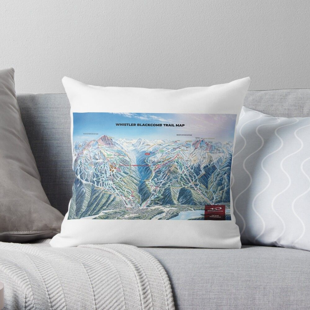 Whistler Trail Map Mountains Bc British Columbia Ski Snowboard Skiing Snowboarding Gift Ideas Throw Pillow By Letourneau41 Snowboarding Gifts Ski And Snowboard Skiing Snowboarding
