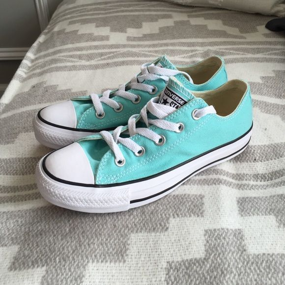 NEW! Tiffany blue converse sneakers! Extremely hard to find in this size or color for that matter in brand new condition. Long story short wrapped my car in Tiffany blue turned out more green so the shoes don't match. Converse Shoes Sneakers