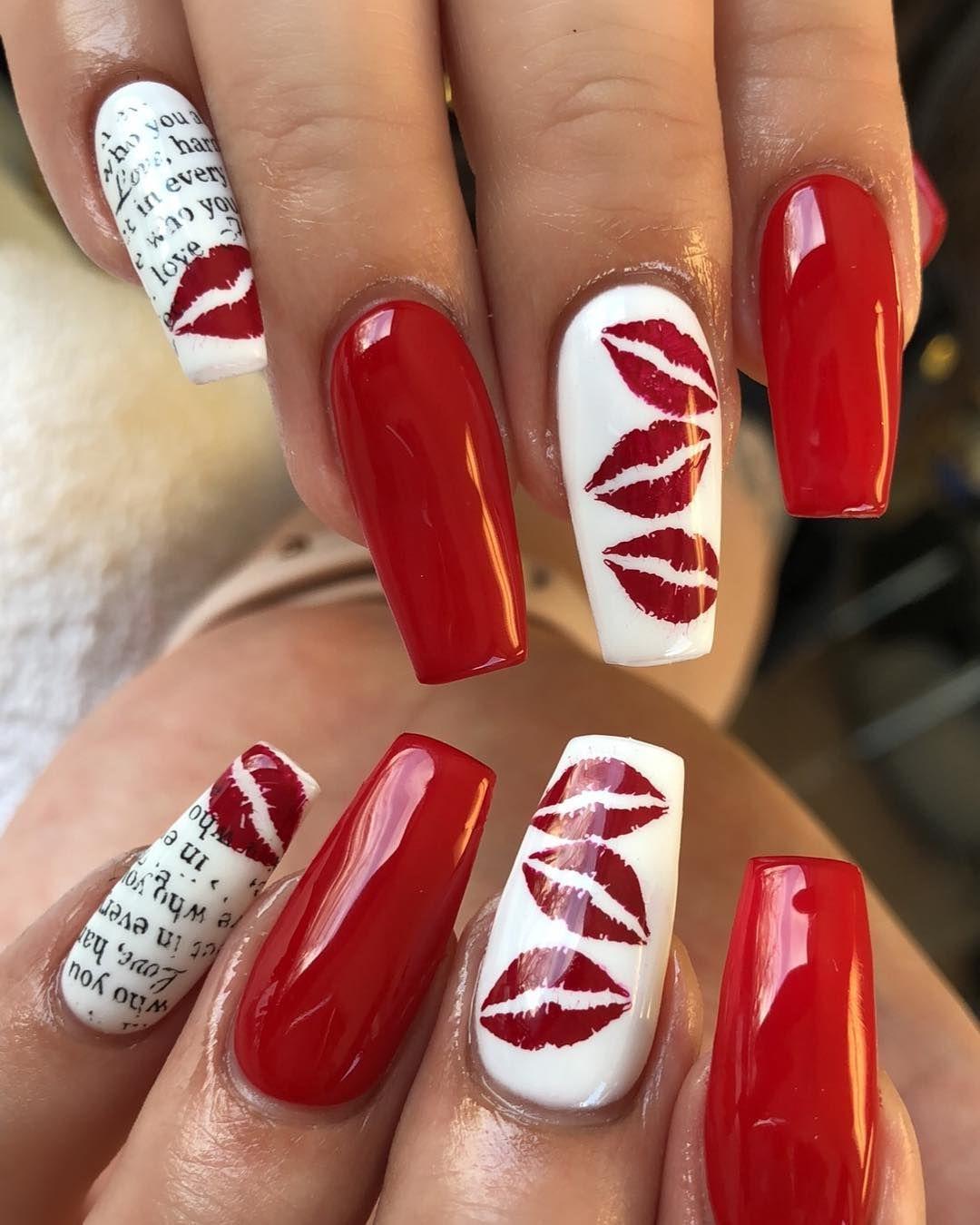 Nailart Coffinnails Red Rednails White Whitenails Lips Kiss