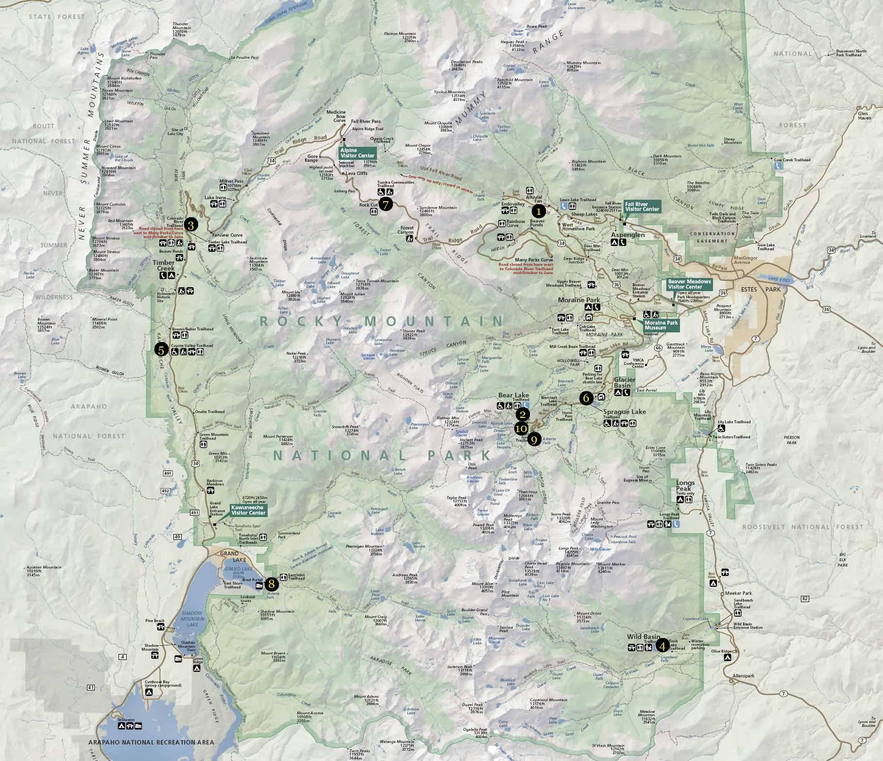 Rocky Mountain National Park Map Rocky Mountain National Park - Map of colorado national forests