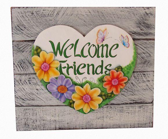 Dê boas vindas aos amigos com esta Linda PLACA DECORATIVA com base de PALLETS e detalhe em MDF R$ 90,00