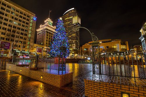 Image result for pioneer courthouse square christmas tree, travel portland