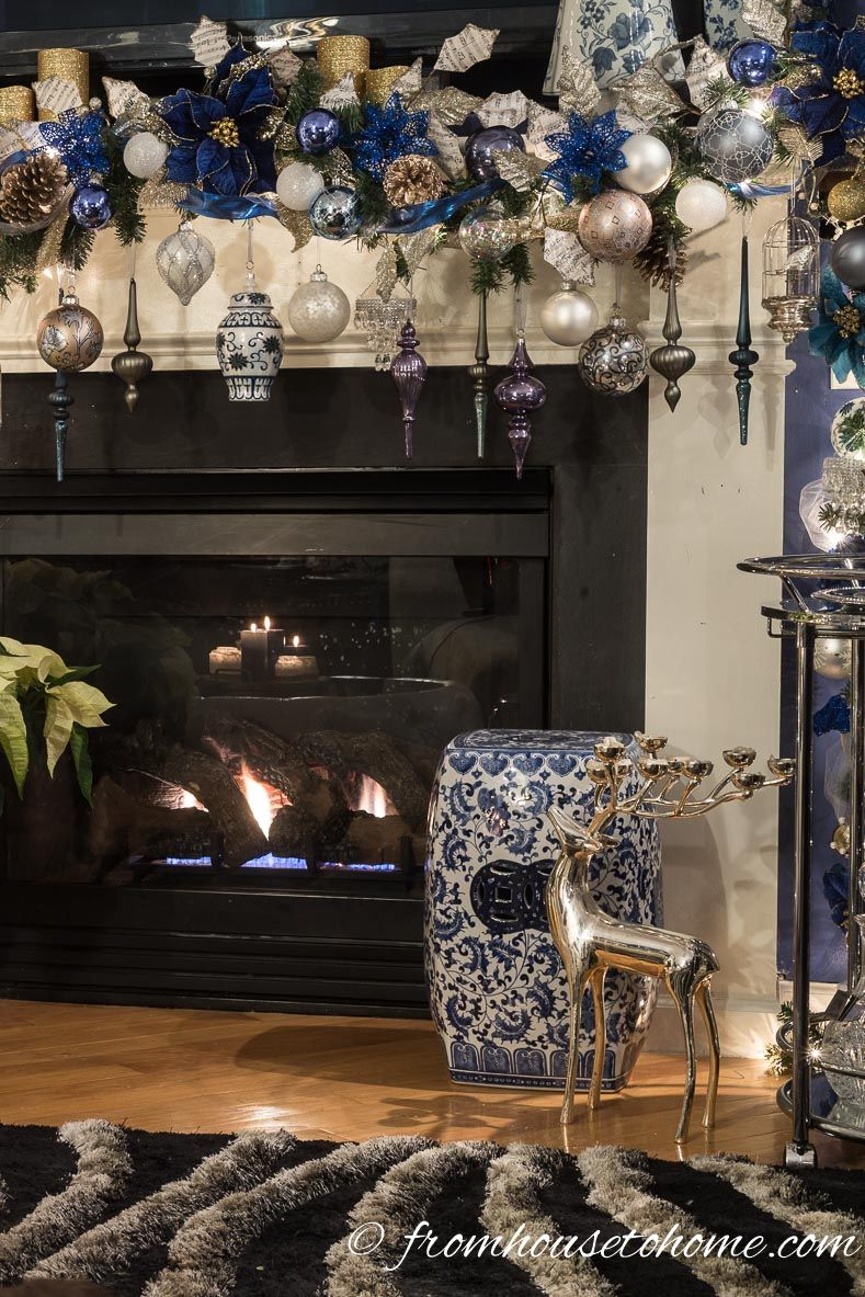 Beautiful Blue And White Christmas Home Decorating Ideas Plus 18 Other Bloggers Christmas Home Tours Christmas Decorations For The Home Diy Christmas Decorations For Home White Christmas Decor